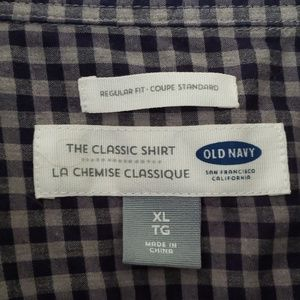 Old Navy Shirts - Old Navy Blue Checked Long Sleeve Button Up